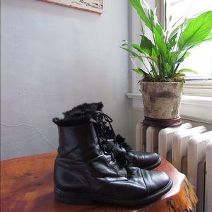 Vintage leather & fur lace up boots 181212009